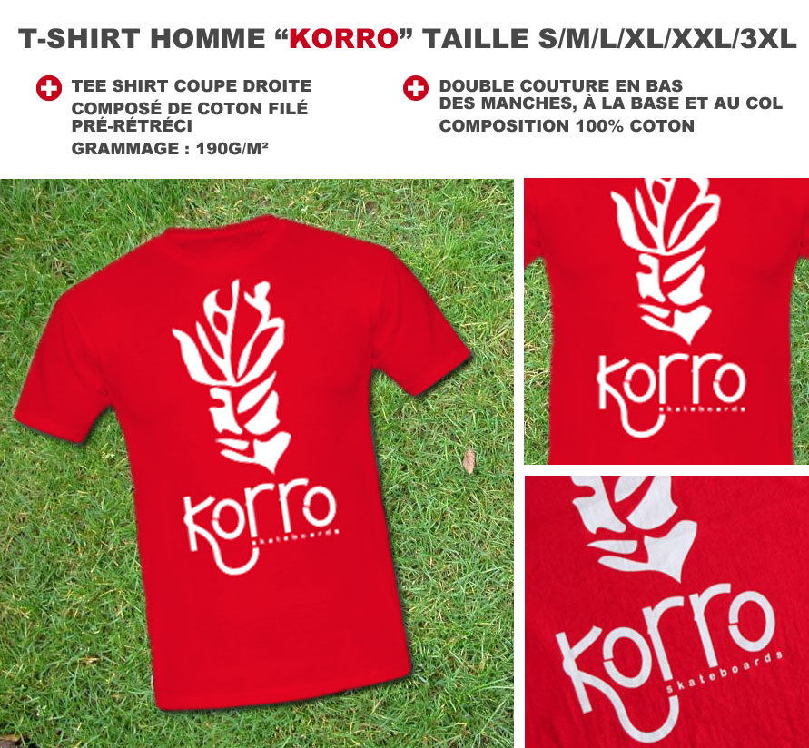 t-shirt homme korro skateboards