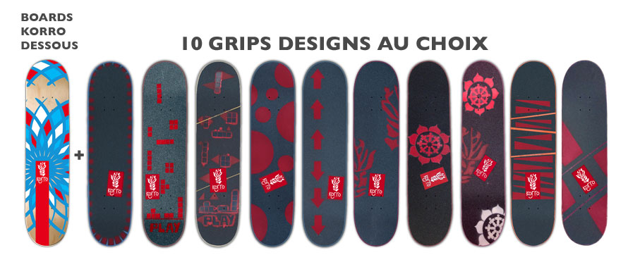 Boards Korro Skateboards : 10 Grips designs au choix